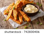 fried baby corn with green... | Shutterstock . vector #742830406