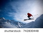 extreme freeride skier jumping... | Shutterstock . vector #742830448