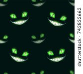 seamless pattern with scary... | Shutterstock .eps vector #742832662