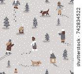 hand drawn vector fun winter... | Shutterstock .eps vector #742834522
