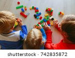 teacher and kids playing with... | Shutterstock . vector #742835872