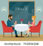 happy couple sitting and... | Shutterstock .eps vector #742836268