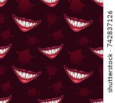 seamless pattern with scary... | Shutterstock .eps vector #742837126