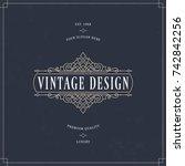 vector calligraphic logo... | Shutterstock .eps vector #742842256