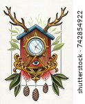 watercolor handmade artwork on... | Shutterstock . vector #742854922