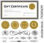vector certificate frame and... | Shutterstock .eps vector #74285659