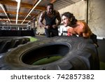 workout partners scream and... | Shutterstock . vector #742857382