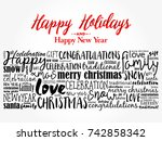 happy holidays and happy new... | Shutterstock . vector #742858342