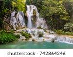 tat kuang si waterfalls  these... | Shutterstock . vector #742864246