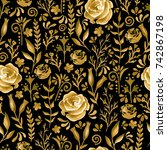 seamless pattern with gold...   Shutterstock . vector #742867198
