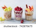 assortment overnight oats ... | Shutterstock . vector #742870675