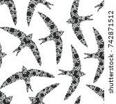 bird swallow swift silhouette... | Shutterstock .eps vector #742871512