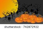 halloween and pumpkin vector | Shutterstock .eps vector #742872922