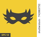 simple carnaval mask icon. flat ... | Shutterstock .eps vector #742883752