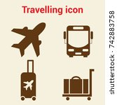simple travel icons set.... | Shutterstock .eps vector #742883758