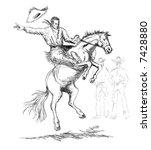 rodeo cowboy riding a bucking... | Shutterstock . vector #7428880