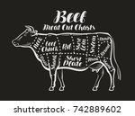 meat cut charts. cow  beef... | Shutterstock .eps vector #742889602