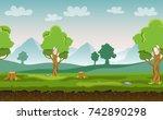 flat cartoon vector seamless... | Shutterstock .eps vector #742890298