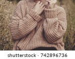 closeup of woman wearing a... | Shutterstock . vector #742896736