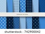 seamless blue snowflake pattern.... | Shutterstock .eps vector #742900042