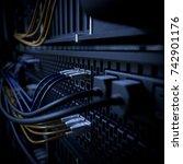 servers and hardware room... | Shutterstock . vector #742901176