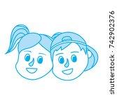 contour children head together... | Shutterstock .eps vector #742902376
