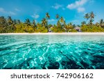 amazing beach background for... | Shutterstock . vector #742906162