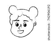 figure avatar girl head with... | Shutterstock .eps vector #742906192