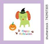 happy halloween greeting with... | Shutterstock .eps vector #742907305