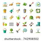landscape design  icons ...   Shutterstock .eps vector #742908502