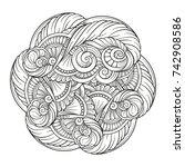 vector black and white ethnic... | Shutterstock .eps vector #742908586