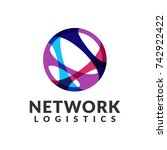 network logistic company vector ... | Shutterstock .eps vector #742922422