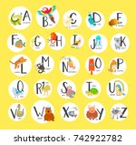 cute zoo alphabet with cartoon... | Shutterstock .eps vector #742922782