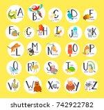 cute zoo alphabet with cartoon... | Shutterstock .eps vector #742922782