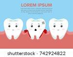 cute cartoon tooth character... | Shutterstock .eps vector #742924822