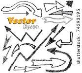 doodle set   arrows. vector... | Shutterstock .eps vector #74293195