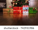 colored boxes with gift lines... | Shutterstock . vector #742931986