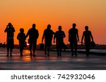 group of friends silhouette on... | Shutterstock . vector #742932046