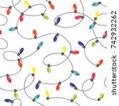 christmas lights background.... | Shutterstock .eps vector #742932262