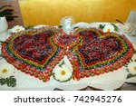 wedding cake with strawberry... | Shutterstock . vector #742945276