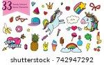 vector doodle hand drawn... | Shutterstock .eps vector #742947292