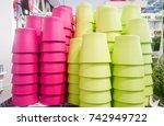 colorful flower pot | Shutterstock . vector #742949722