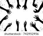 zombie hand silhouette clip art ... | Shutterstock .eps vector #742952956
