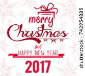 christmas greeting card. merry... | Shutterstock .eps vector #742954885