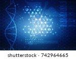 2d render of dna structure ... | Shutterstock . vector #742964665