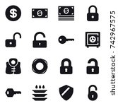 16 vector icon set   dollar ... | Shutterstock .eps vector #742967575