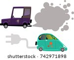 electric car and gasoline or... | Shutterstock .eps vector #742971898