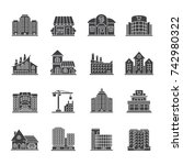 city buildings glyph icons set. ... | Shutterstock . vector #742980322