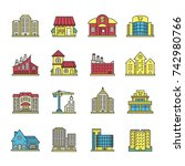 city buildings color icons set. ... | Shutterstock . vector #742980766