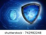 3d illustration security... | Shutterstock . vector #742982248